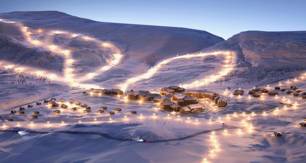 ALPINLANDSBY: Slik ser utviklerne for seg Eidfjord Resort.
