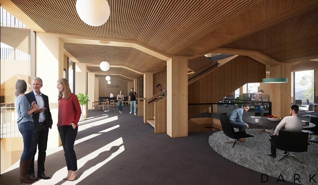 NODE: Om et par år åpner Drammens storstue for innovasjon. Ill.: Dark Arkitekter