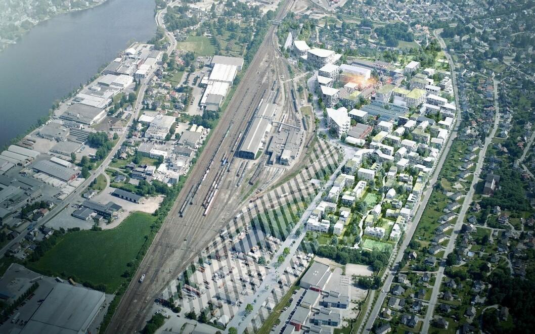 SUNDLAND: I mange tiår var det jernbaneaktivitet på det 280 mål store området ved Drammen stasjon. Nå er det ett av de største fortettingsprosjektene i byen. Ill.: Bane NOR Eiendom