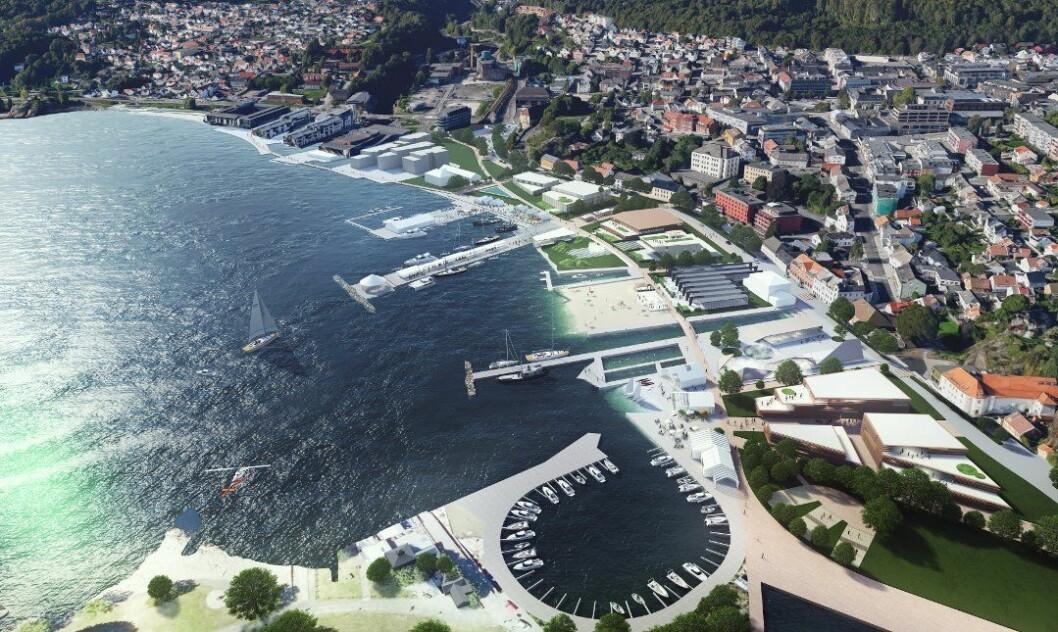 VISJON: Sli ser arkitekt Niels Torp for seg Larviks nye havnefront.