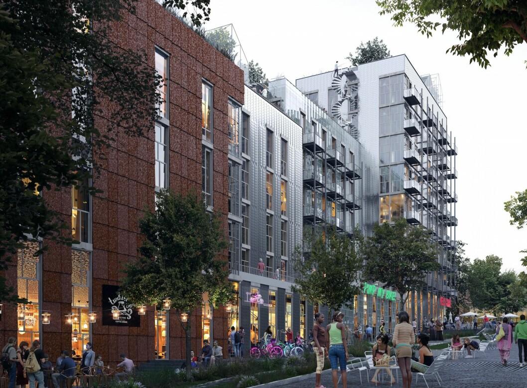 GJENBRUK: Bygget med boliger og næring vil være et fullstendig gjenbruksbygg. (Ill.: MAD arkitekter)