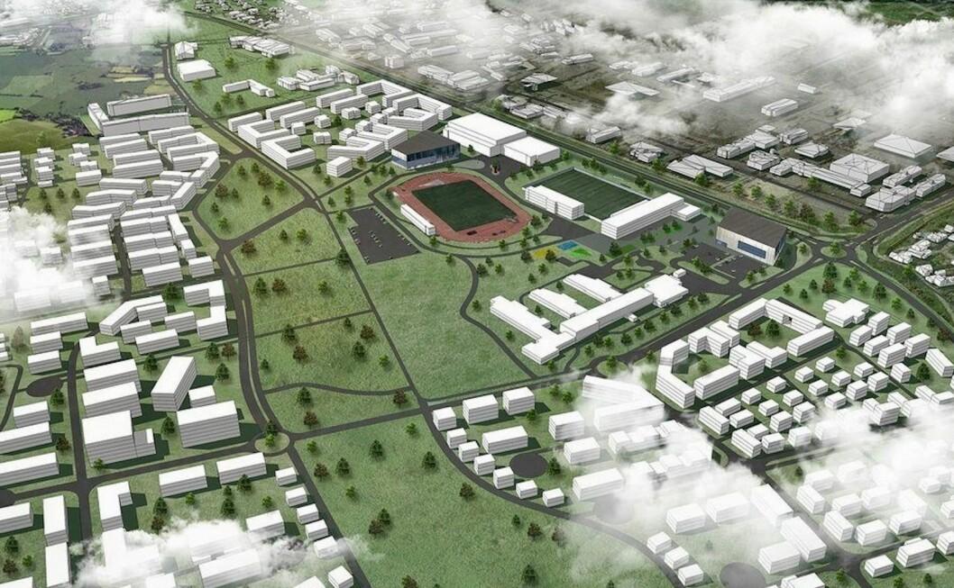 STORT: Gystadmarka er det største boligprosjektet i Jessheim og skal utvikles over flere år. Ill.: Asplan Viak