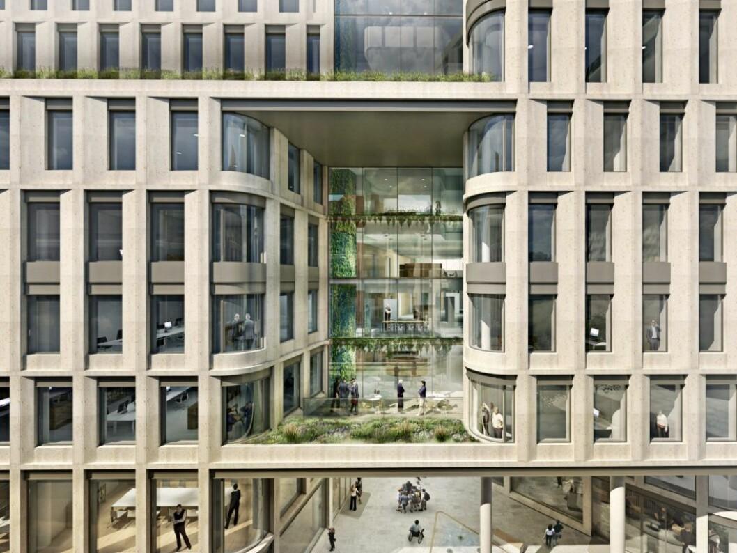 GRØNT: Universitetsgata 7-9 som Entra nå er i gang med skal tilfredsstille BREEAM NOR EXCELLENT, Energiklasse A og passivhusnivå. Ill.: Cubo arkitekter.