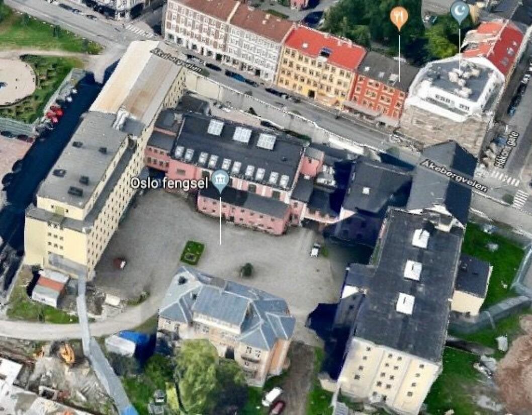 VIL HA SYNLIG FENGSEL: Oslo fengselsfunksjonærers forening mener at et fengsel bør være synlig, blant annet «fordi det i seg selv har en allmennpreventiv effekt». Foto: Google