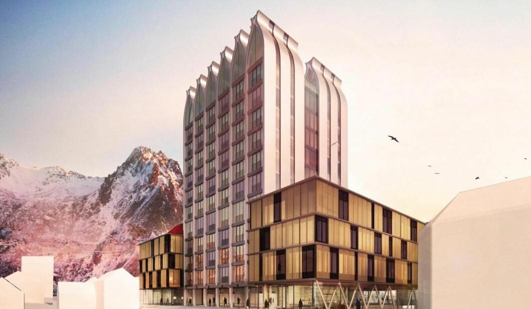 TØRRFISK: Christian Ringnes har store planer i Lofoten. De nederlandske arkitektene skal være inspirert av fisk og tørrfisk da de tegnet det Vestfjord hotell. Ill.: Concrete Architectural Associates