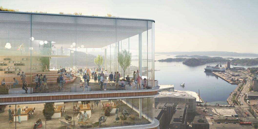 HØYT: Slik kan utsikten fra toppetasjen bli. Illustrasjon: Kristin Jarmund/C.F Møller/Rodeo arkitekter