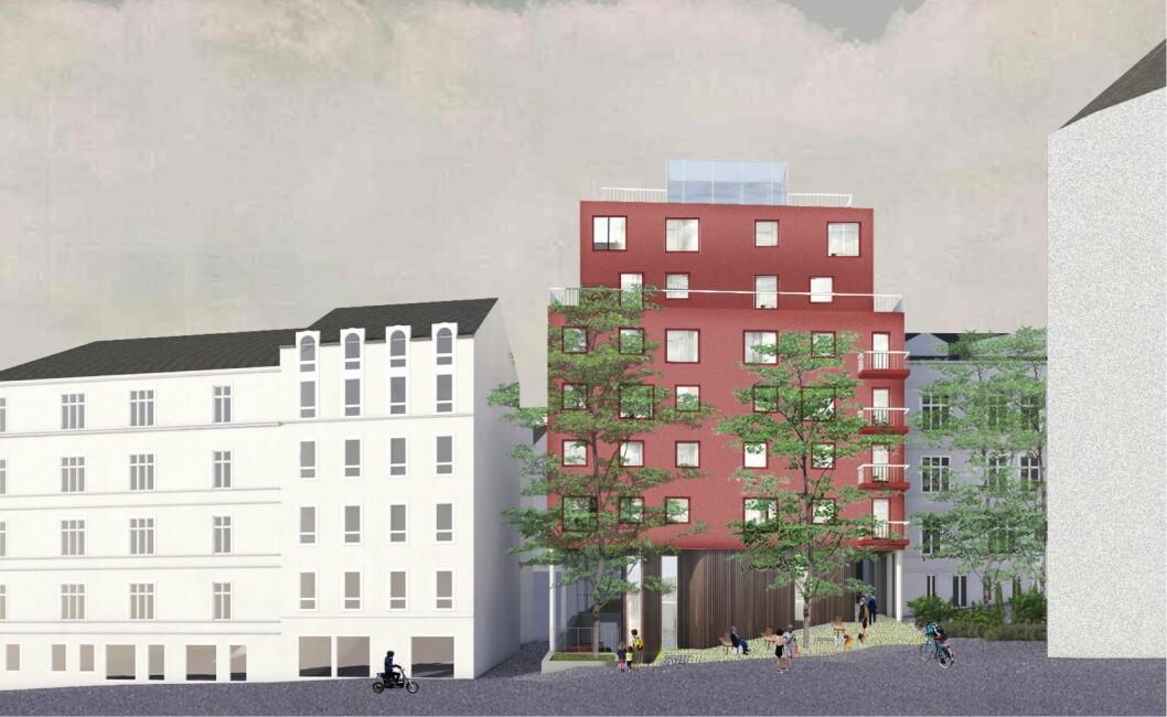INNSYN: Den nye bygningene er prosjektert slik at den gir innsyn til det bakenforliggende huset. Ill: Blakstad Haffner Arkitekter