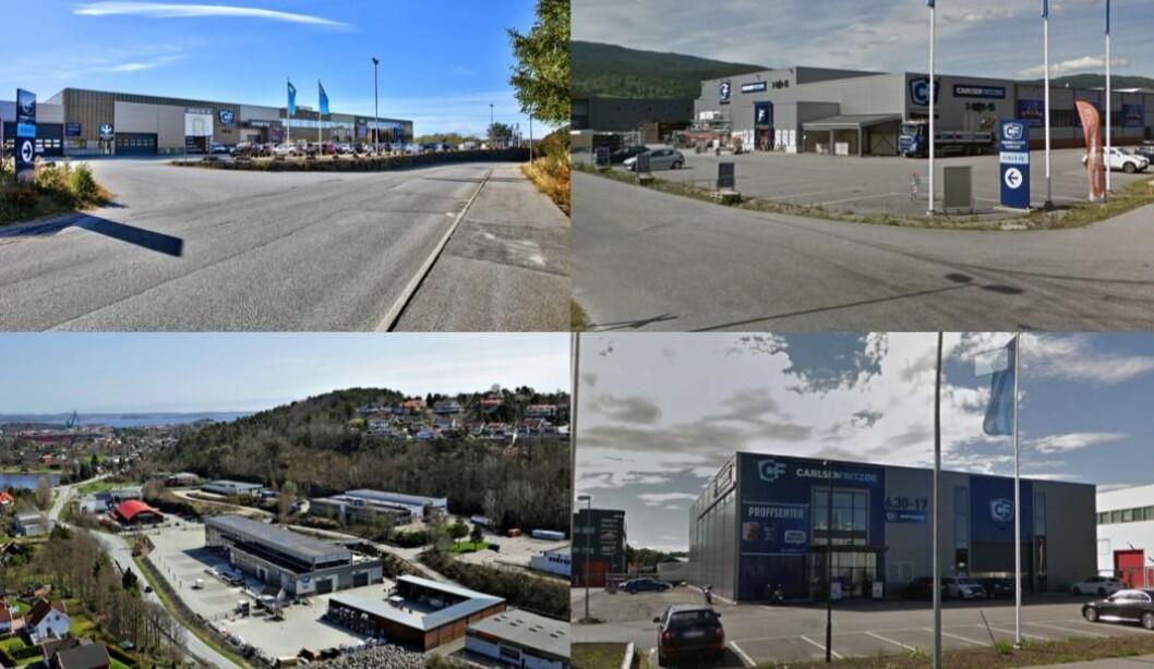FIRE: Etter kjøpet har Handelseiendom Invest fire eiendommer som er leid ut på lange kontrakter til Carlsen Fritzøe Handel.