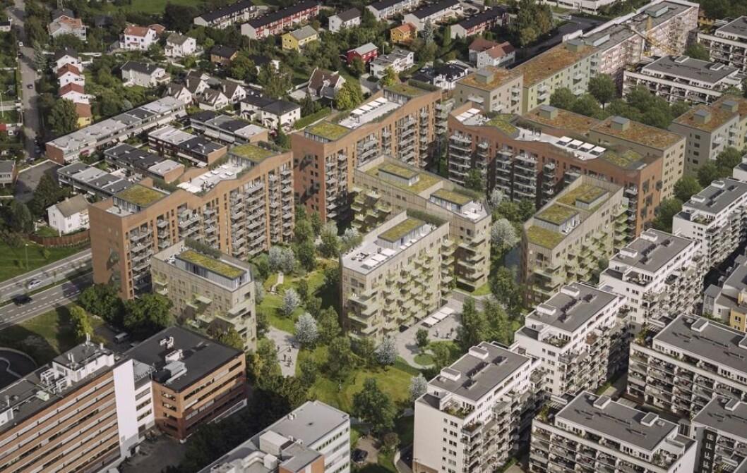 STORT PROSJEKT: OBOS og Veidekke har fått regulert 390 nye leiligheter i Peter Møllers vei i Løren. (Ill.: Victor Fretyan)