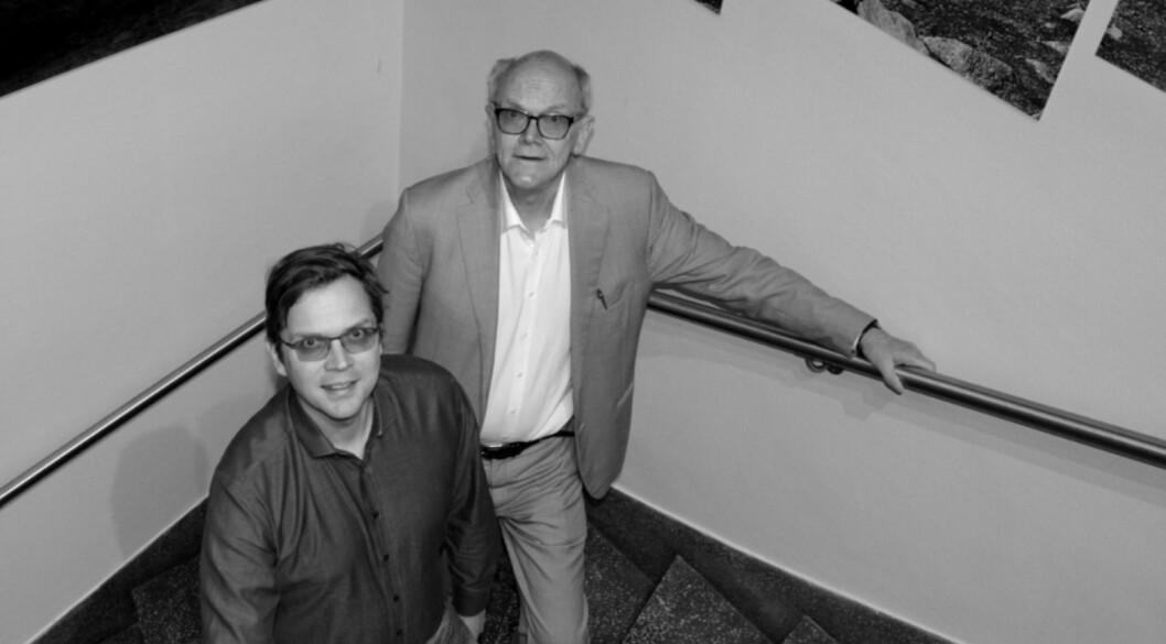 MINUS: Halgrim Thon (til høyre) går i minus for første gang på mange år. Her sammen med sønnen Olav Engebret Thon, som er daglig leder i Hathon Holding.