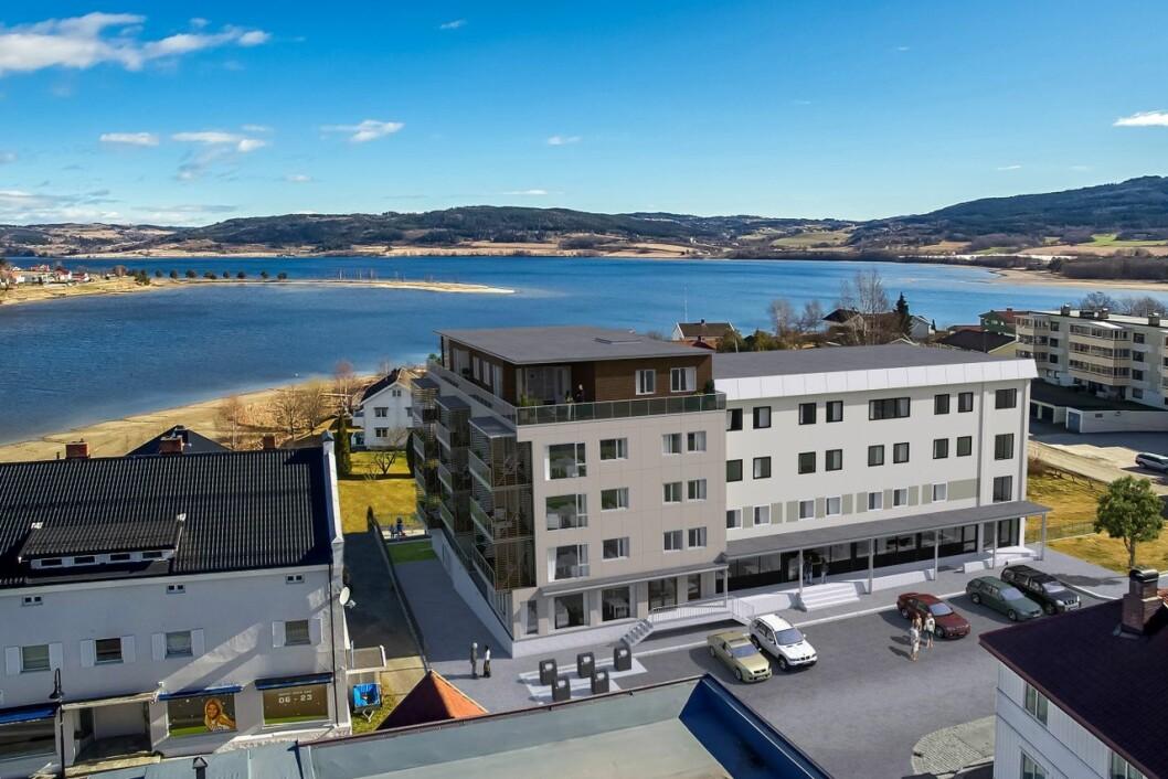 JEVNAKER: Storgaten terrasse skal bestå av 13 leiligheter ved Randsfjorden. Ill.: SG Arkitektur/Einar Martin Lundstad