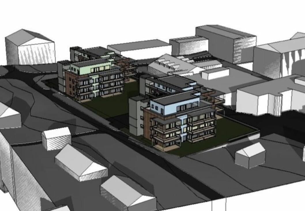 KOMBISENTER: Rådhustoppen blir det høyeste prosjektet på Frøya når det står ferdig om et par års tid. Ill.: On arkitekter