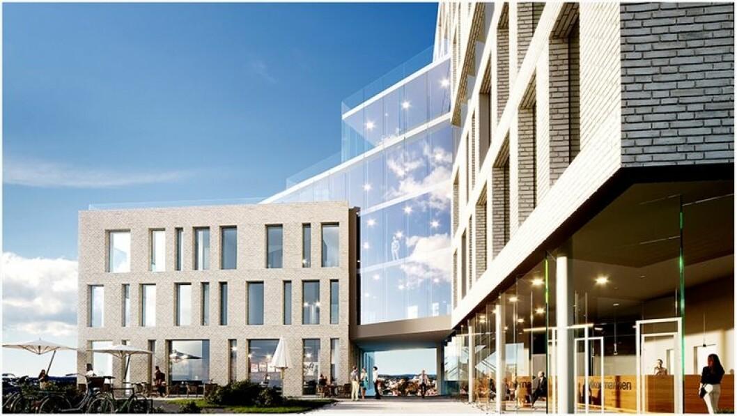 NY BYDEL: Veidekkes bygging markerer starten på den nye bydelen Fløybyen. Ill.: NSW