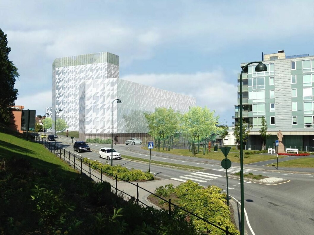 HOTELL: Tilbake i 2014 var planen å bygge et hotell på tomta, slik blir det ikke. Ill.: Link Arkitektur