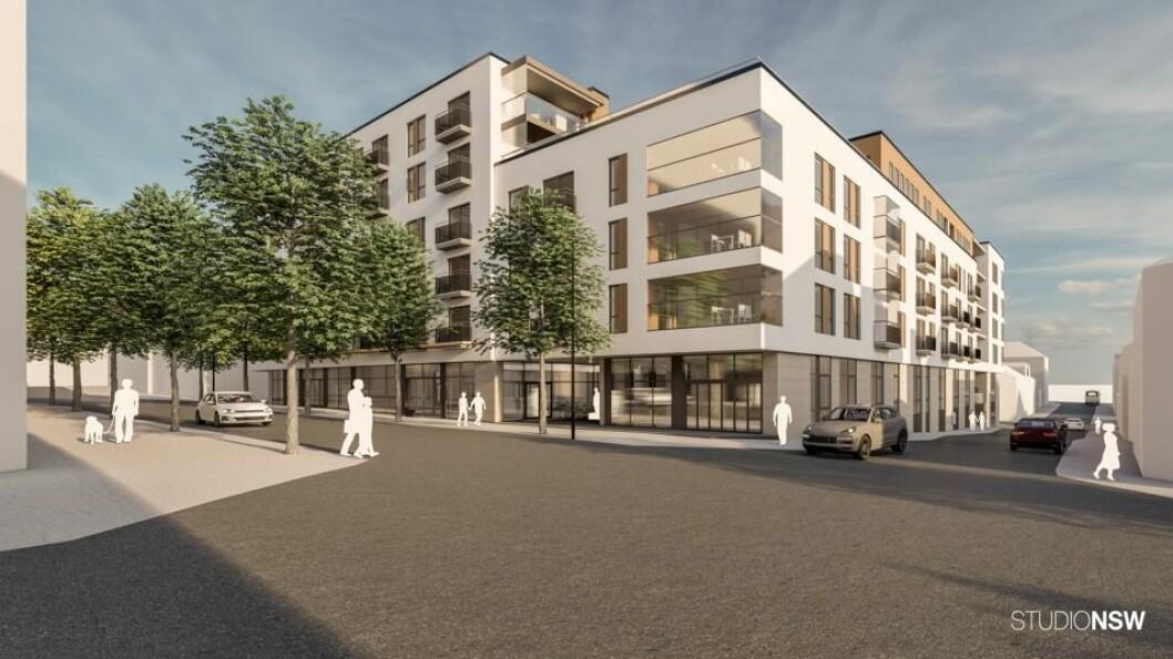 NYTT: Det nye kvartalet i Hamar skal få 121 leiligheter samt næringslokaler. Ill.: StudioNSW, Hamar