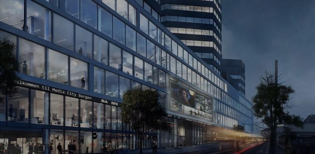 STRIDENS SKJERM: Den store medieskjermen til Media City Bergen skapte konflikt som endte i retten.