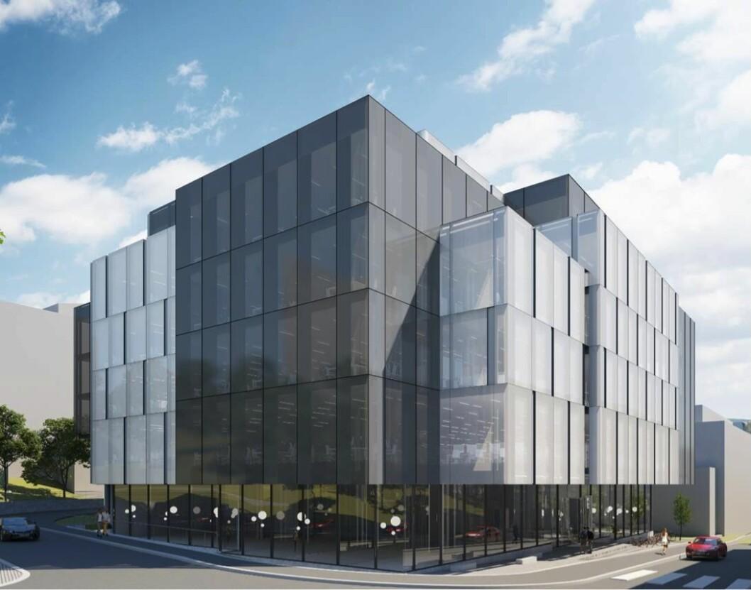 TYDELIG IDENTITET: Det overordnede konseptet for prosjekt har vært å etablere et flerbruker kontorbygg med en tydelig identitet i forhold til den omkringliggende bebyggelse. Ill: Arcasa Arkitekter