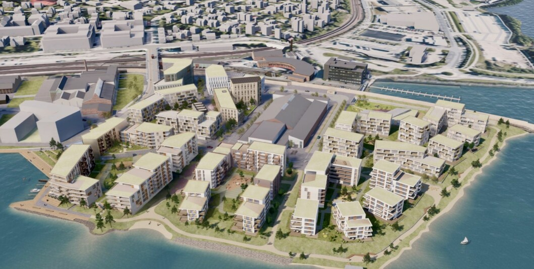 ESPERN: Det tidligere industriområdet ved Mjøsas bredd skal bli det største byutviklingsprosjektet i Hamars historie. Ill.: AsplanViak og Lund+Slaatto Arkitekter