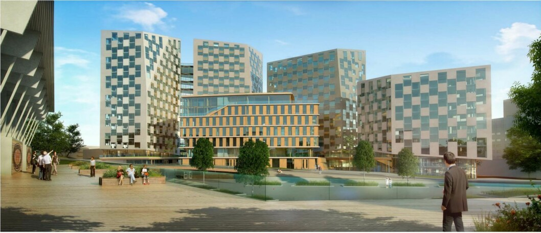 OPP: Leieprisene i Oslo skal videre opp. Her fra NCCs prosjekt på Helsfyr. Ill.: NCC