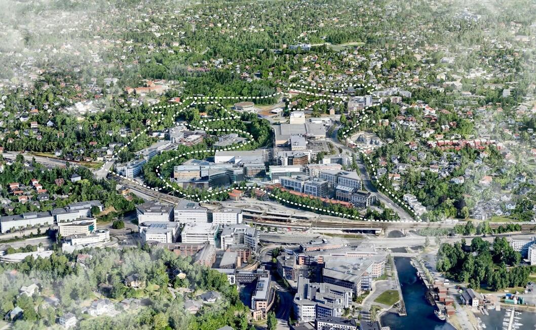 GJENBRUK: Når Lilleakerbyen skal utvikles inkluderer det flere eksisterende bygninger. Foto: Mustad