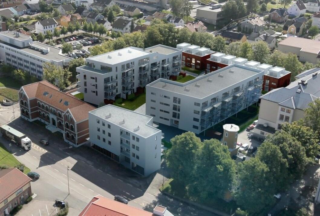 90 BOLIGER: Betongbygg er godt i gang med Skarmyrakvartalet. Ill.: SG Arkitekter
