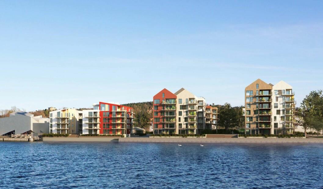 FREDNES: Slik ser PBBL for seg Frednes Brygge når alt står ferdig. Første byggetrinn til venstre.