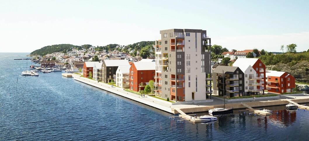 SMIETANGEN: Vil du bo nærmere sjøen må du flytte inn båt. Ill.: SPIR arkitekter