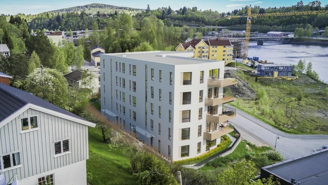 STARTEN: Sollitoppen er Dæhlies første skritt på veien mot 300 leiligheter i Eidsvoll sentrum. Ill.: Romfarer arkitekter