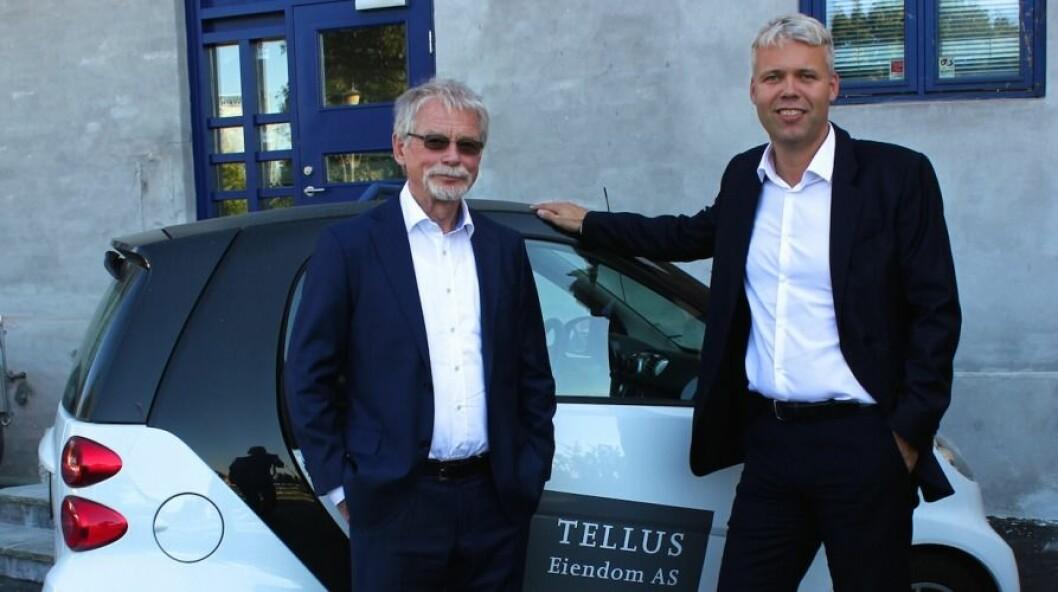 GODE TIDER: Edvard Bakkejord (t.v.) og Per Øivind Dahl i Tellus Eiendom kan glede seg over gode resultater.