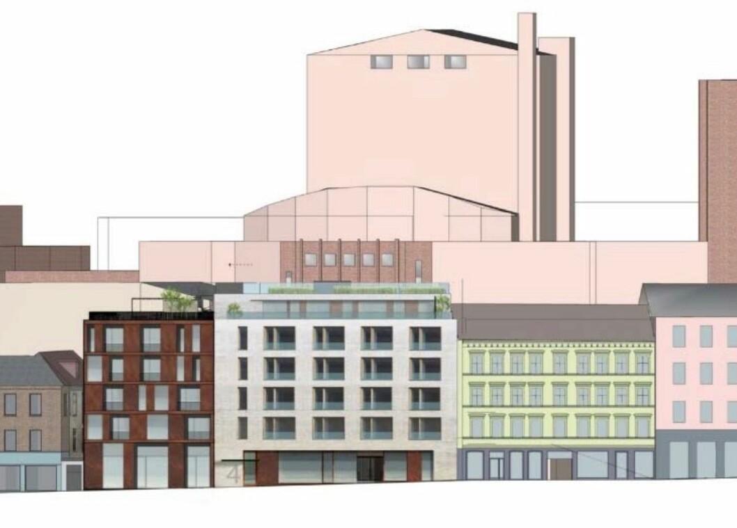 INFILL: Det prosjekterte nybygget er utformet som infill-bebyggelse. Ill: Hille Melbye Arkitekter