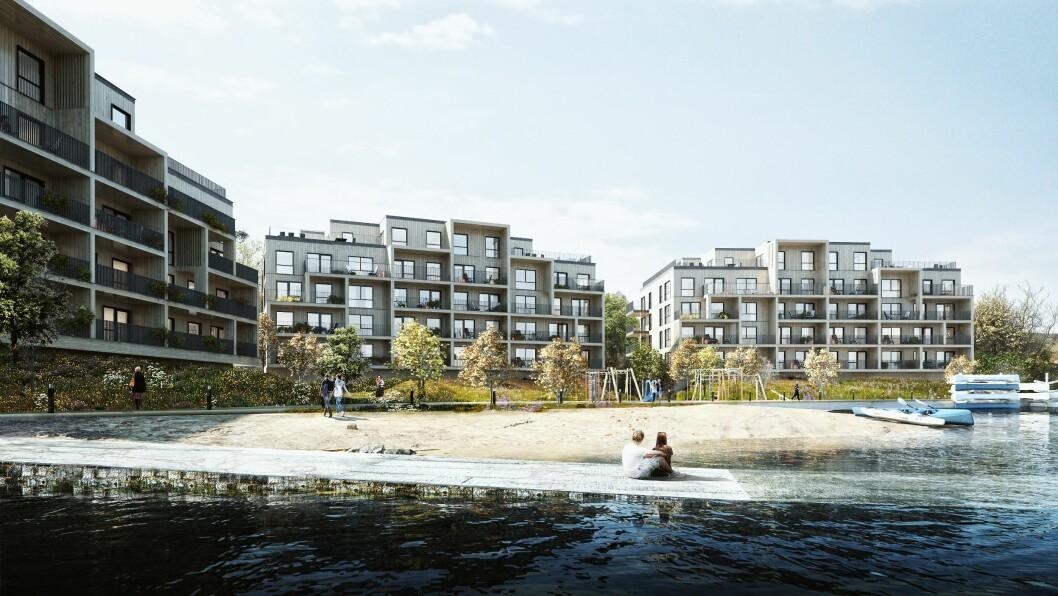 ELVELANGS: De tre boligblokkene i Bugten Brygge skal ligge nede ved elvebredden. Ill.: Mad arkitekter