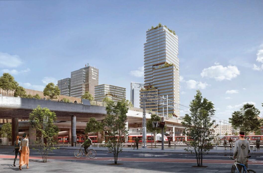 HØYHUS: Planforslaget fra KLP Eiendom omfatter høyhus med kontor og hotell. (Kristin Jarmund Arkitekter, C.F. Møller Architects og Rodeo arkitekter)