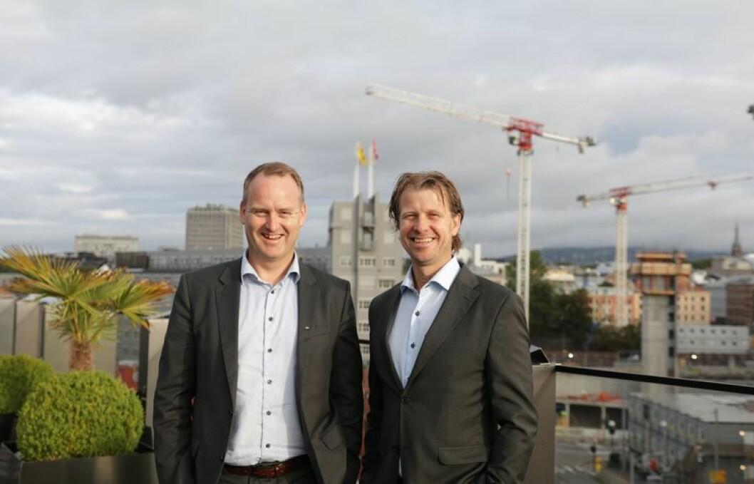 KJØP & SALG: Morten Grongstad, adm. direktør i AF Gruppen (t.v.) og Jørgen Evensen, adm. direktør i Betonmast.