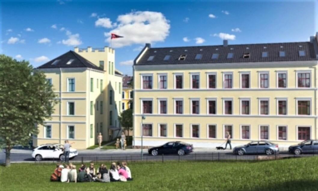 FORVALTER EIENDOMSVERDIER: Danmarksgate 2 og 4 er blant eiendommene til Stiftelsen Kaare Berg. Boliggården er oppført på 1800-tallet og ble rehabilitert i 2016. (Foto: Stiftelsen Kaare Berg)