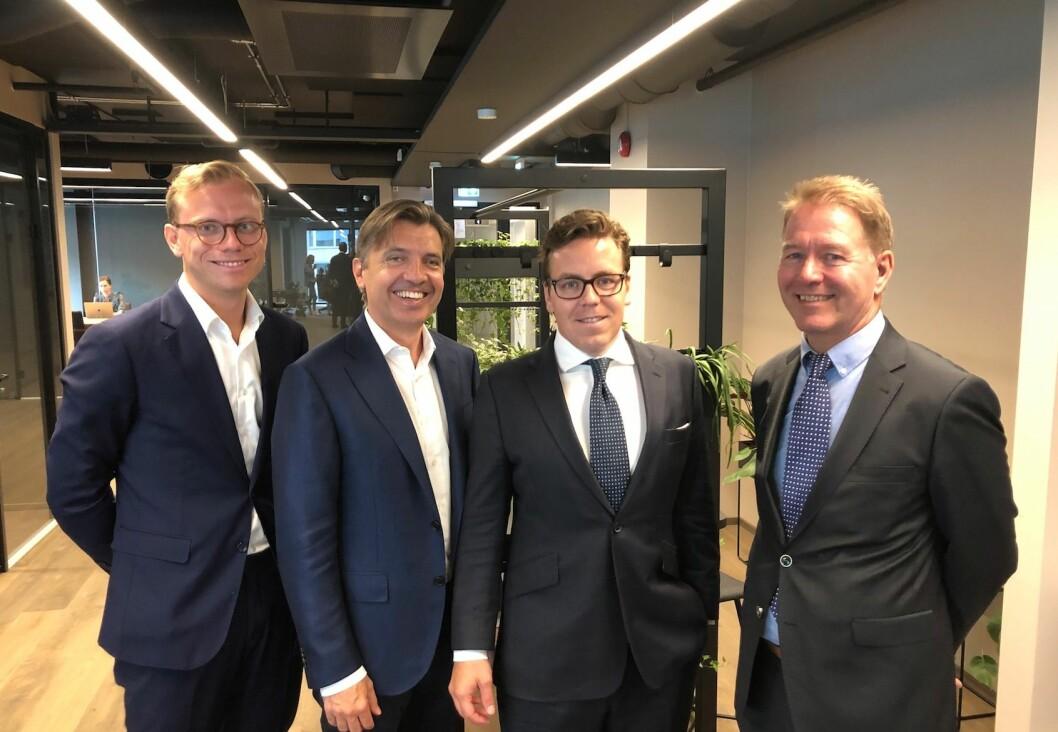 Nordanö mener det er rom for en større eiendomsrådgiver til i et norske markedet. Fv: Oscar Bergström, Sven Dahlin, Lukas Tofterå og Eskil Skei. Foto: Glen Widing