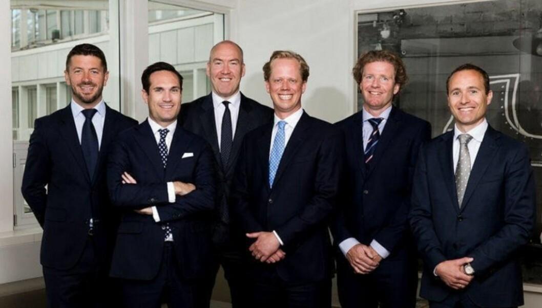 INN I SVERIGE: Vika Project Finance kjøper i Sverige. Fra venstre: Fredrik Melfald, Einar S. Futsæther, Eirik Stensrud, Anders Berg Thomassen, Thomas Holtan Leskovsky og Stian Toftdahl.