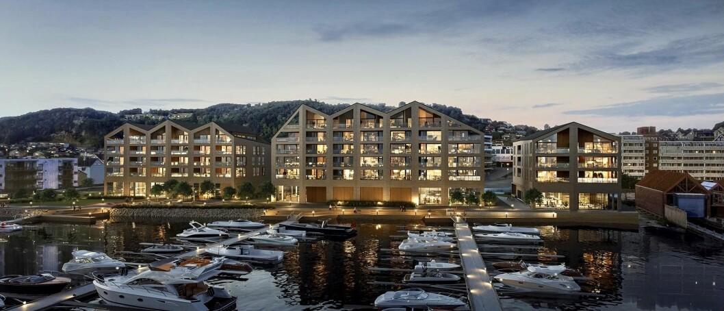SJØNÆRT: Veidekke selger også båtplasser i sitt prosjekt Rovik Brygge i Sandnes.