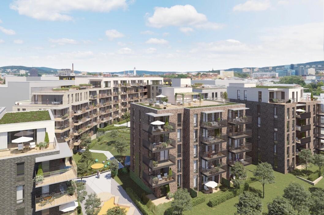 158 BOLIGER: Ferd Eiendom vil bygge 158 boliger og inntil 1 500 kvadratmeter næringsarealer i Ensjøveien 3-5. Ill: Arcasa Arkitekter