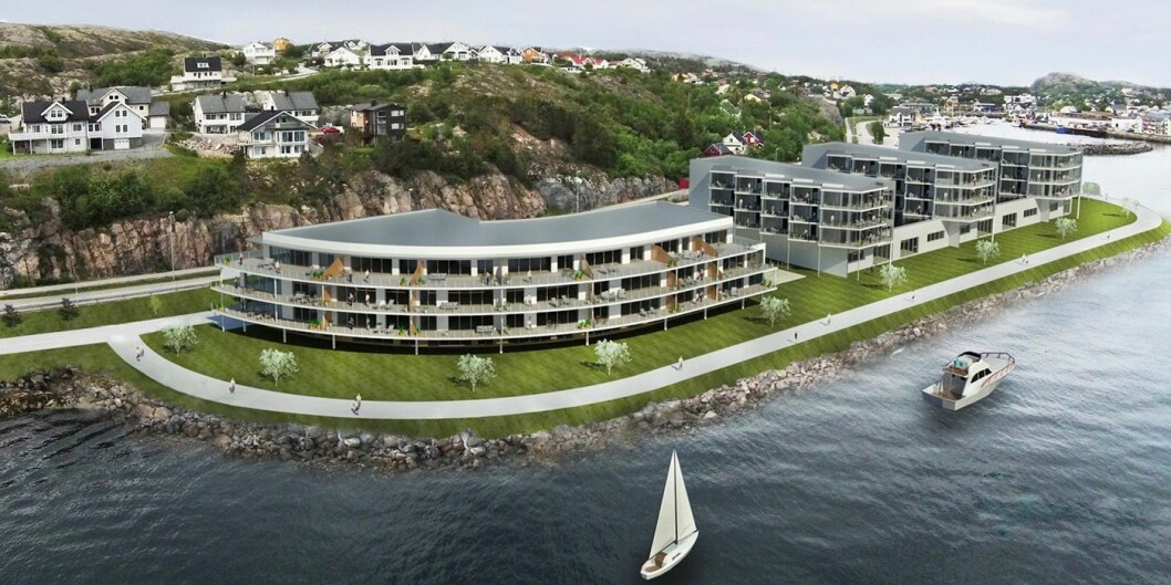 SJØNÆRT: Nærøysund Panorama skal bygges på ei fylling ute i sjøen, 509 meter unna skipsleia.
