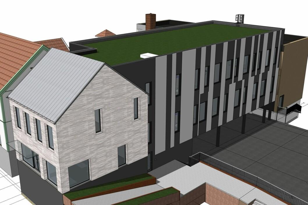 BANK: DNB på Jessheim må ut av sine lokaler neste år og da bygger Jessheim Storsenter like godt en nytt bygg til dem, inkludert et frontbygg i Storgata som står i stil med de fredede nabohusene. Ill.: Arconsult
