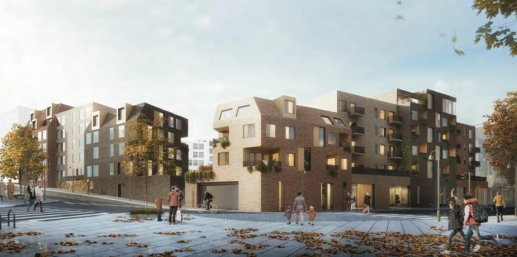 BYKVARTAL: Thon Eiendom vil rive kjøpesenteret i Moss for å bygge nytt boliger og næring. Ill.: Dark arkitekter