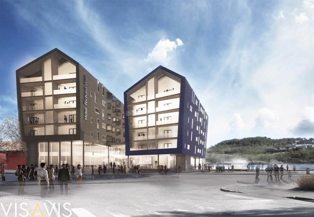 KAIHOTELL: Hotel Richard With skal bygges i sjøkanten i Stokmarknes. Ill.: Arkitektene Visavis