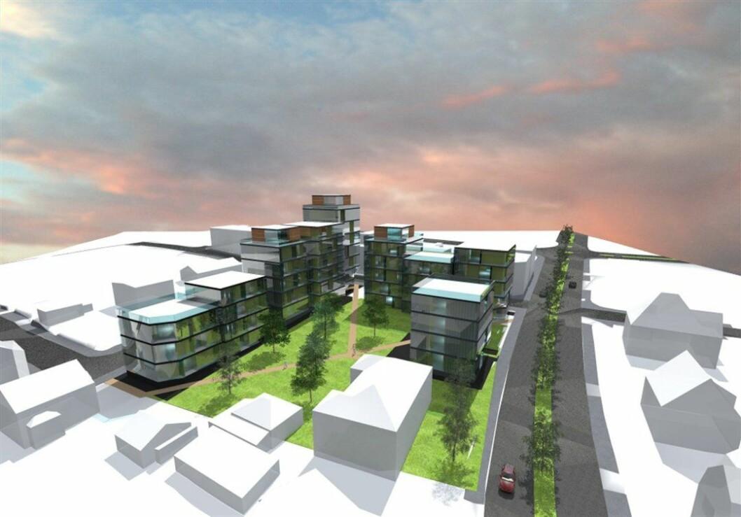 REDUSERT: Slik så utviklerne for seg Byhaven til å begynne med. Nå er det redusert med to, til seks etasjer.