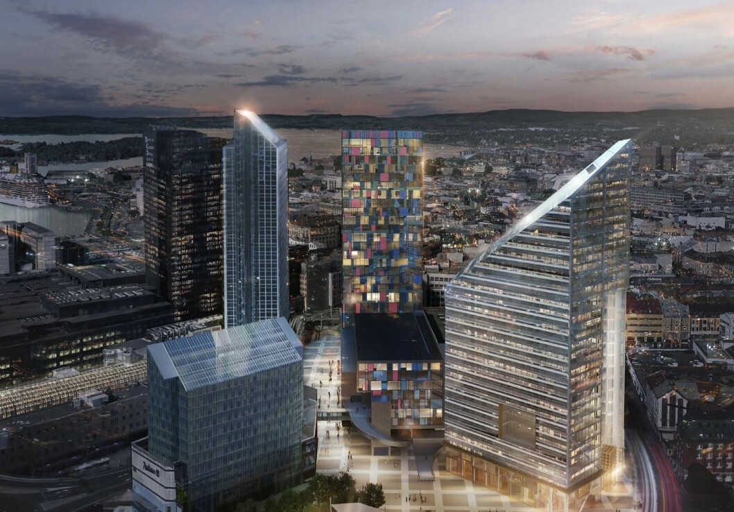 HØYHUS: Det foreslåtte høyhuset vil ha tilnærmet lik høyde som Oslo Plaza og Posthuset. Ill: LPO arkitekter. (Til høyre det foreslåtte bygget «Oslo Solar» i regi av Entra)
