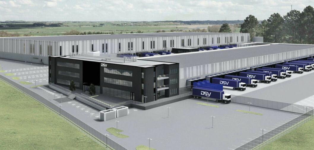 STORT: DSV-anlegget i Vestby blir 55.700 kvadratmeter stort og skal stå ferdig neste juli. Ill.: Logistic Contractor