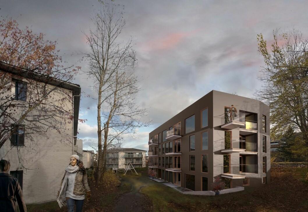 15 BOLIGER: Planforslaget gir ca. 15 boliger og 8 bilparkeringsplasser. Ill: TAG arkitekter