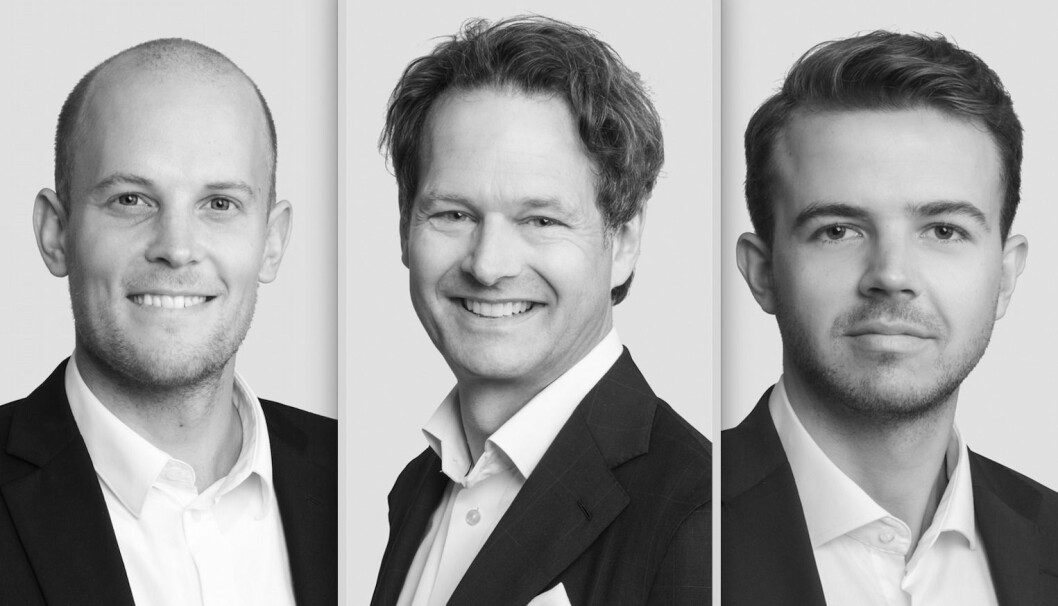 NYE MEDARBEIDERE: Fredrik Rost (tv), Pål S. Corneliussen og Mats Emil Rebbestad er ansatt av Cushman & Wakefield.