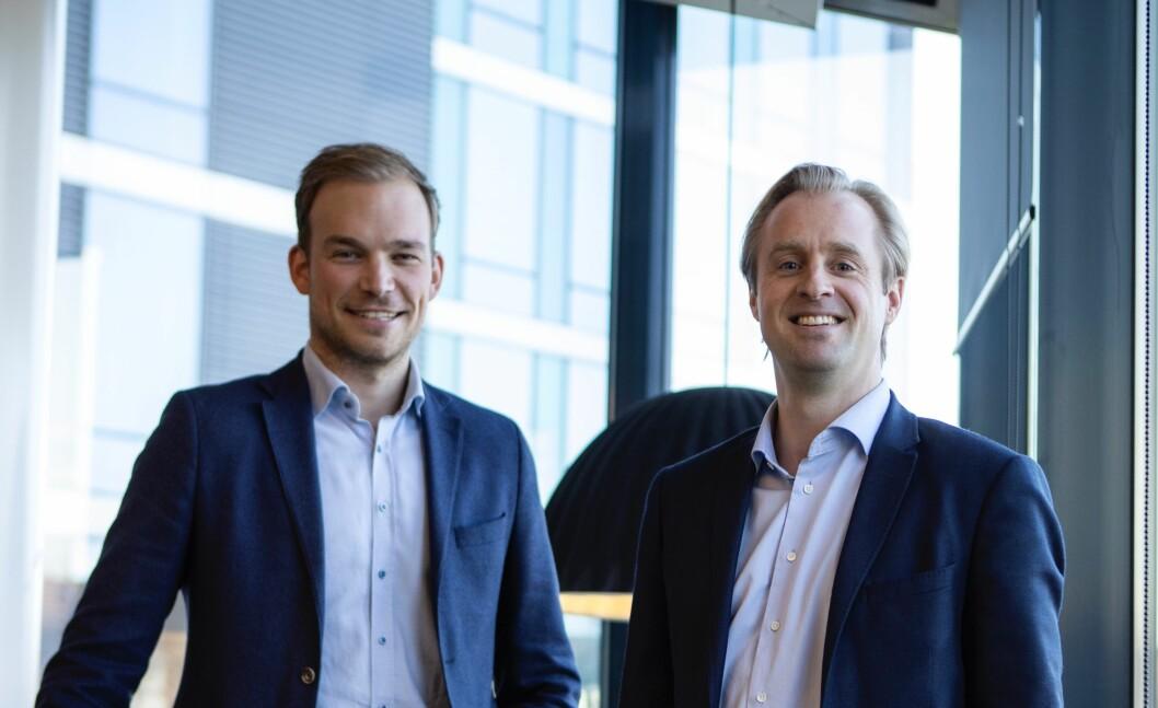 MILJØ: Ole Blaauw Johansen (t.v) og Otto Christian Groth i AF Eiendom går nå for en ny klima- og miljøstrategi.