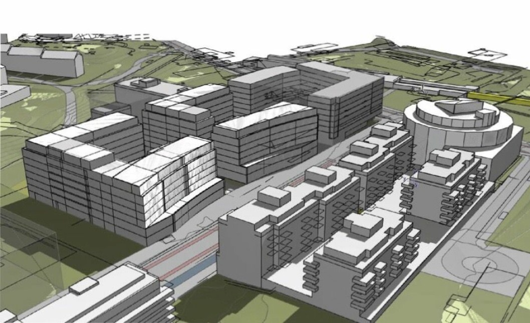 8 ETASJER: Det foreslås en bebyggelse på opptil 8 etasjer. Ill: HRTB Arkitekter