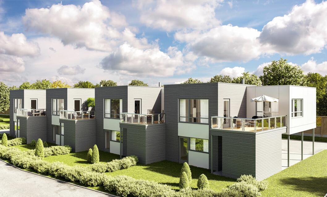 80 BOLIGER: På et jorde sør for Drammen vil Trysilhus bygge 80 boliger, inkludert kjedede eneboliger som disse.